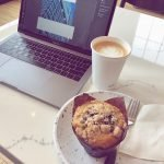 Laptop with coffee and muffin